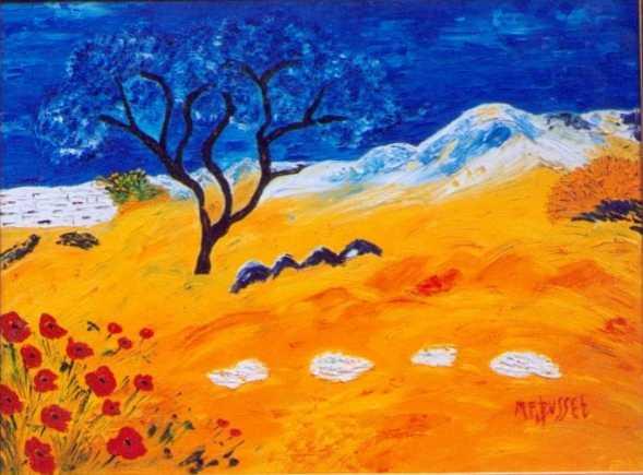 L arbre bleu et les coquelicots de marie france busset - Grand tableau pas cher ...